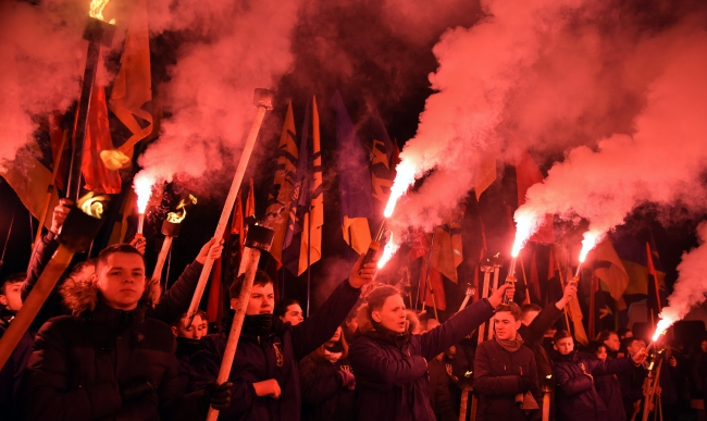 UKRAINIAN RIGHT-WING RADICALS CRIED OUT ANTI-POLISH SLOGANS WHILE WALKING IN LVIV