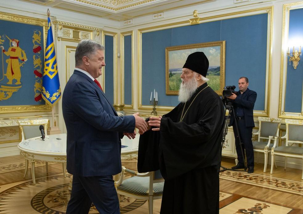 Патріарх Філарет особисто привітав Президента з рішенням Синоду Вселенського Патріархату