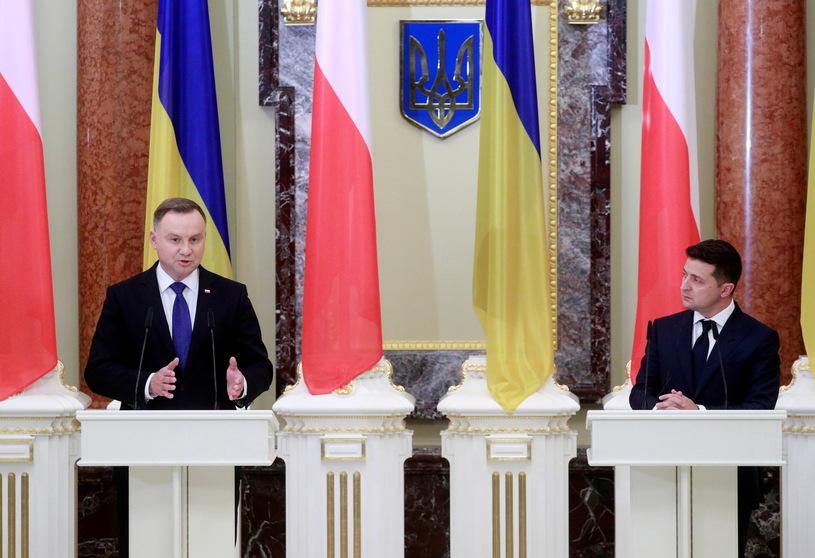 Konferencja prasowa Prezydentów Polski Andrzeja Dudy i Ukrainy Wołodymyra Zełenskiego